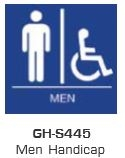 Global Door Controls Gh-S445-Blue, Signage, Ada Compiant, Push Plate, Men Handicap Restroom, In Blue