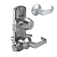 DORMA J353LCB626234F118S5701DSCKD - J353 ENTRY DOUBLE CYLINDER LOCK, LC LEVER, 2-3/4 IN BACKSET FIRE RATED, 1-1/8 IN SQUARE FACEPLATE, T STRIKE, SCHLAGE C KEYWAY, 626 SATIN CHROME