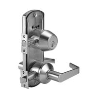 DORMA J353LRB626234F118S5701DSCKD - J353 ENTRY DOUBLE CYLINDER LOCK, LR LEVER, 2-3/4 IN BACKSET FIRE RATED, 1-1/8 IN SQUARE FACEPLATE, T STRIKE, SCHLAGE C KEYWAY, 626 SATIN CHROME