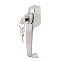 "Prime Line K 5089 - Push Button Lock, W/Key, 1-3/4"" Hole Center, Aluminum"