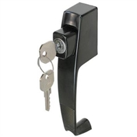 "Prime Line K 5090 - Push Button Lock, W/Key, 1-3/4"" Hole Center, Black"