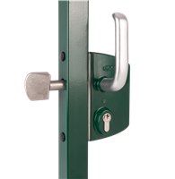 "Locinox Ls-K-Z-6060-U2L-Zilv-Vsz-S, Sliding Gate Lock For Square 2-1/2"" Profiles In Silver With 3006S - Reinforced Aluminum Handle Pair & Keyed Differently"