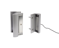 "Locinox Mag-2500-Zilv, Magnetic Lock- 600/1200 Lbs  -  With Integrated Handles For Mounting On Square Posts And Gate Profiles Of 1-9/16"" Till 3-1/8"", 600 Lbs Pulling Force In Silver With 3006Pull Handle (2 Year Warranty)"