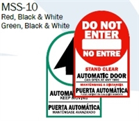 "English/Spanish ""Automatic Door Keep Moving"" / ""Stand Clear Automatic Door Can Open At Any Time"" Double Sided Decal"