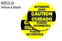 "English/Spanish ""Caution Automatic Door"" Double Sided Decal"