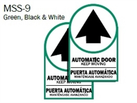 "English/Spanish ""Automatic Door Keep Moving"" Double Sided Decal"