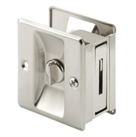 Prime Line N 7239 - Pocket Door Privacy Lock W/Pull, Satin Nickel