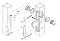 "S. Parker Hardware N6202Lcal, Bar Bolt Narrow Stile Deadbolts, Without Cylinders, Aluminum 31/32"" Backset"