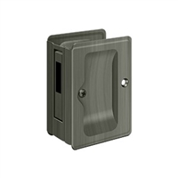 "Deltana Sdar325U15A - Hd Pocket Lock, Adjustable, 3 1/4""X 2 1/4"" Sliding Door Receiver - Antique Nickel Finish"