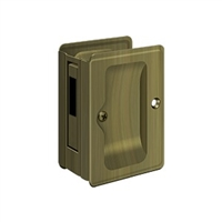 "Deltana Sdar325U5 - Hd Pocket Lock, Adjustable, 3 1/4""X 2 1/4"" Sliding Door Receiver - Antique Brass Finish"