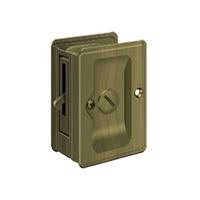 "Deltana SDLA325U5 - Hd Pocket Lock, Adjustable, 3 1/4""X 2 1/4"" Privacy - Antique Brass Finish"
