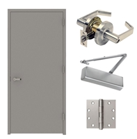 Commercial Steel Door And Frame, 36 In X 84 In, Fire Rated, Gray Left Hand Flush Hollow Metal Door With Knock Down Frame Door Closer and Hardware