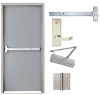 Commercial Steel Security Door And Frame, 36 In X 80 In, Fire Rated, Gray Left Hand Flush Hollow Metal Door With Knock Down Frame Panic Bar and Hardware