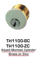 Global Door Controls Th1100-Bcx2-Al, Th1100 Keyed Mortise Brass Cylinder X2 Sch Aluminum