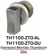 Global Door Controls TH1100-ZT-AL, TH1100 Zinc Mortise Thumbturn Aluminum Finish
