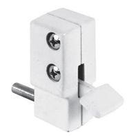 Prime Line U 9879 - Sliding Door Lock, Step-On, White Finish