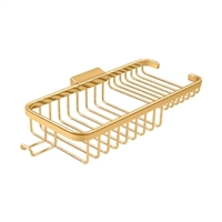 "Deltana Wbr1051HCr003 - Wire Basket 10-3/8"", Rectangular Deep & Shallow, With Hook - PVD Polished Brass Finish"