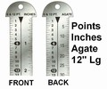 "G33785 - Printer's 12"" Line Gauge Pica Ruler/2-Sided - Stainless Steel/Inch-Point/Point-Agate/12"" L x 13/16"" W x 1/32"" Tk/Each"