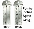"G33787 - Printer's 24"" Line Gauge Pica Ruler/2-Sided - Stainless Steel/Inch-Point/Point-Agate/24"" L x 13/16"" W x 1/32"" Tk/Each"