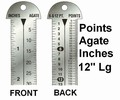 "G43868 - Printer's 12"" Line Gauge Pica Ruler/2-Sided - Stainless Steel/Point, Inch, Agate/12"" L x 13/16"" W x 1/32"" Tk/Each"