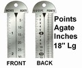 "G43869 - Printer's 18"" Line Gauge Pica Ruler/2-Sided - Stainless Steel/Point, Inch, Agate/18"" L x 13/16"" W x 1/32"" Tk/Each"