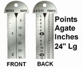 "G43870 - Printer's 24"" Line Gauge Pica Ruler/2-Sided - Stainless Steel/Point, Inch, Agate/24"" L x 13/16"" W x 1/32"" Tk/Each"