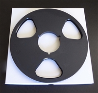 "Reel to Reel Audio Tape 10.5"" NAB Plastic Reel in Black with White Setup Box"