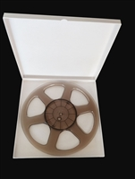 "Reel to Reel Audio Tape 10.5"" Trident Plastic Reel in Black with White Setup Box"