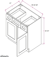 "Ashford Series  Charleston Saddle SPICE DRAWER - 1 DRAWER (6""Wx24""D""x34 1/2""H) from The Cabinet Depot"