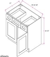 "Ashford Series  Frost White Shaker SPICE DRAWER - 1 DRAWER (6""Wx24""D""x34 1/2""H) from The Cabinet Depot"