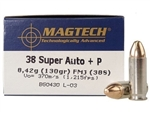 Magtech .38 Super +P Ammo 130 Grain Full Metal Jacket