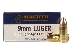 Magtech 9mm Luger Ammo 124 Grain Full Metal Jacket