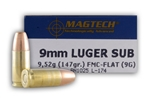 Magtech 9mm Luger Ammo 147 Grain Full Metal Jacket Subsonic