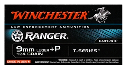 Winchester 9mm Luger Ammo 124 Grain +P Ranger T-Series Jacketed Hollow Point