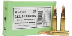 Sellier & Bellot .308 Winchester Ammo 200 Grain Sierra Match King Hollow Point Boat Tail Subsonic