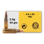 Sellier & Bellot 4.6x30mm Ammo 40 Grain Full Metal Jacket
