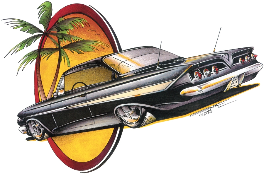 Chevrolet 39 61 Chevy Impala Bubbletop Classic Car T Shirt