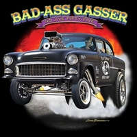 Bad Ass Gasser 55 Chevy Bel Air Drag Race T-shirt