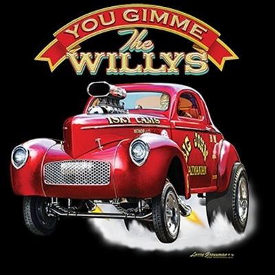 Willys Gasser Drag Race T-shirt 100% Cotton Small-XXXL