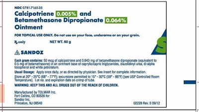 Calcipotriene 0.005%  & Betamethasone DIPROPIONATE 0.064% Sandoz