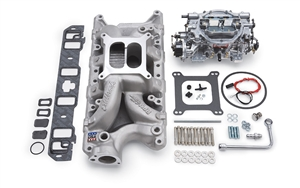 EDELBROCK RPM AIR-GAP MANIFOLD AND THUNDER SERIES AVS 800 CFM CARB FOR S/B FORD - SATIN FINISH - 2033