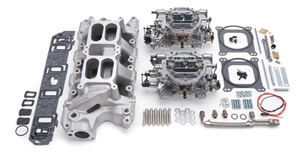 EDELBROCK RPM DUAL-QUAD MANIFOLD AND CARB KIT FOR 289-302 FORD- SATIN FINISH - 2035