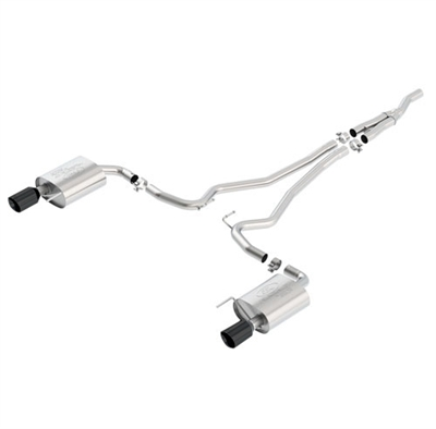 FORD RACING 2015-2016 MUSTANG 2.3L TOURING CAT BACK EXHAUST SYSTEM WITH BLACK TIPS -- M-5200-M4TB