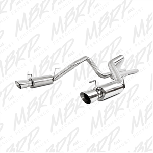 "MBRP 2007-2010 Ford Shelby GT500 Dual Mufflers Cat Back, Dual Split Rear, Race Version T304, 4"" Tips  -- S7270409"