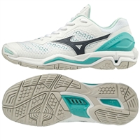 Mizuno Wave Stealth V Netball Shoe (White/Blueberry/Blue Turquoise)