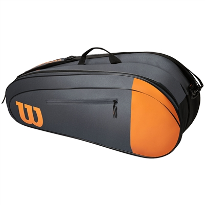 Wilson Team 6 Pack Tennis Racket Bag (Grey/Orange)