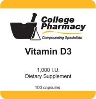 Vitamin D3 1,000iu - College Pharmacy, 100 capsules