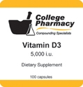Vitamin D3 5,000 iu - College Pharmacy, 100 capsules