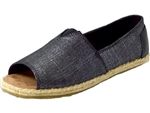 Toms Shoes Inc.: Alpergata Open Toe Black Metallic Linen