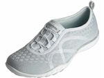 Skechers: Breathe Easy Fortuneknit White Silver